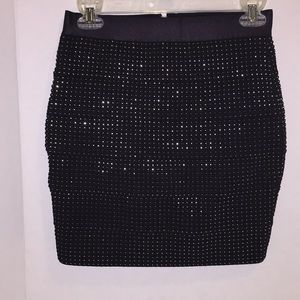 Attention Black with Gold Shimmer Mini Skirt
